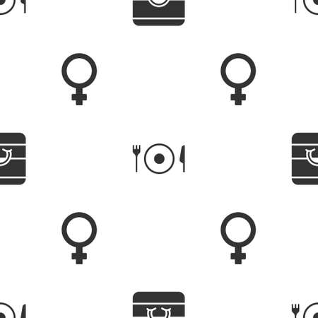 Set Wedding rings, Plate, fork and knife and Female gender symbol on seamless pattern. Vector Illustration