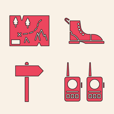Set Walkie talkie, Folded map with location, Hiking boot and Road traffic signpost icon. Vector Ilustracja