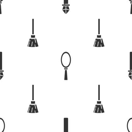 Set Magic staff, Magic hand mirror and Witches broom on seamless pattern. Vector