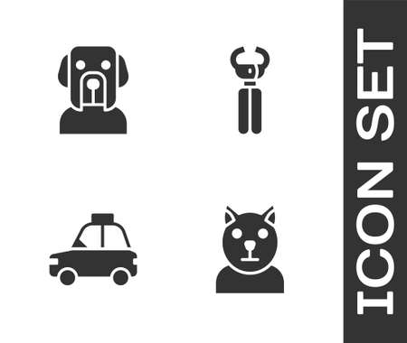 Set Cat, Dog, Pet car taxi and nail clippers icon. Vector