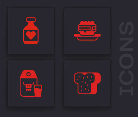 Set Bread toast, Vitamin pill, Junk food and Paper package for milk icon. Vector Vettoriali