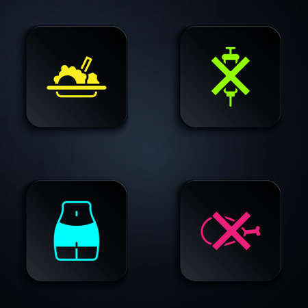 Set No meat, Healthy food, Women waist and doping syringe. Black square button. Vector
