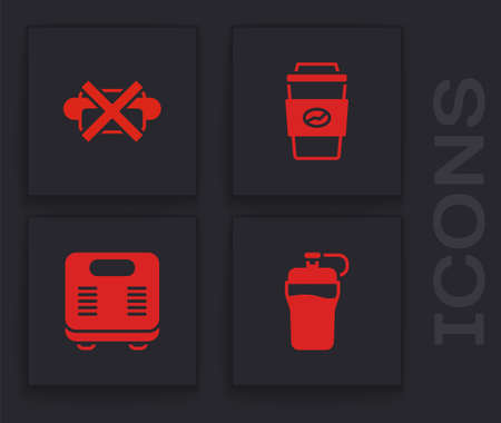 Set Fitness shaker, No junk food, Coffee cup to go and Bathroom scales icon. Vector