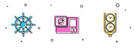 Set Ship steering wheel, Action camera and Gauge scale icon. Vector Vettoriali