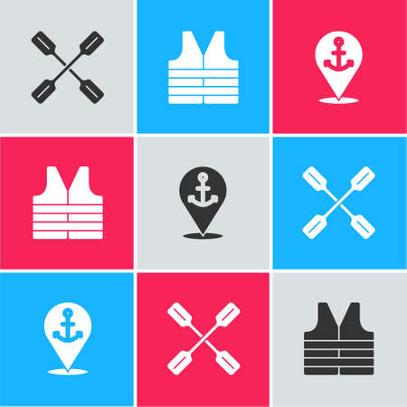 Set Paddle, Life jacket and Location with anchor icon. Vector Vettoriali