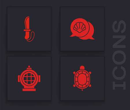 Set Turtle, Knife, Scallop sea shell and Aqualung icon. Vector