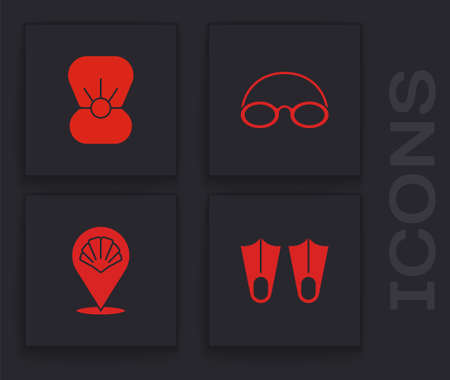 Set Rubber flippers, Shell with pearl, Glasses and cap and Scallop sea shell icon. Vector