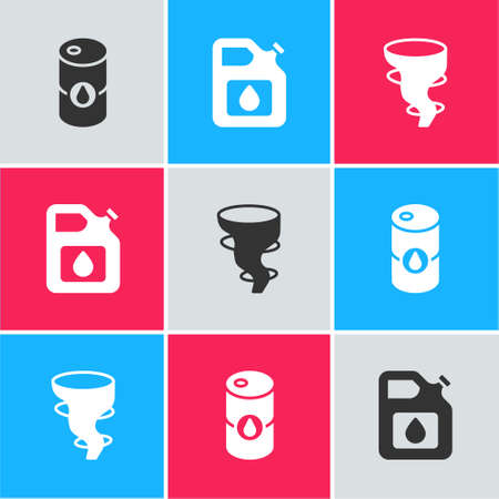 Set Barrel oil, Canister for gasoline and Tornado icon. Vector