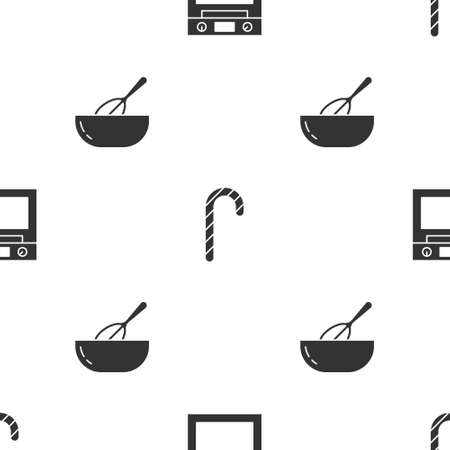 Set Oven, Christmas candy cane and Kitchen whisk bowl on seamless pattern. Vector