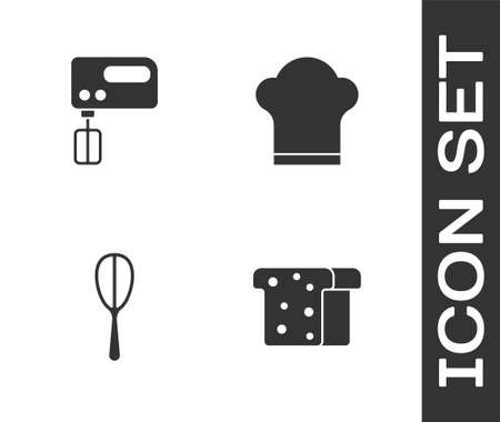 Set Bread toast, Electric mixer, Kitchen whisk and Chef hat icon. Vector