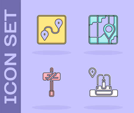 Set Location with fountain, Route location, Road traffic sign and City map navigation icon. Vector Ilustracja