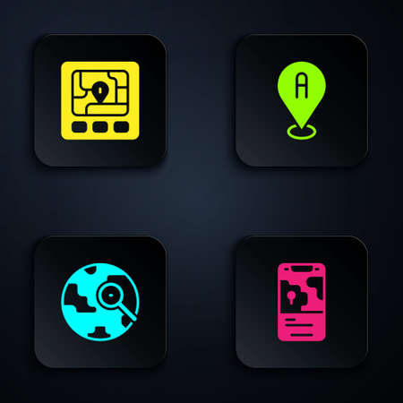 Set City map navigation, Gps device with, Magnifying glass globe and Location. Black square button. Vector