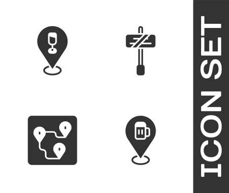 Set Alcohol or beer bar location, , Route and Road traffic sign icon. Vector