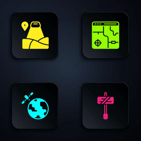 Set Road traffic sign, Location with mountain, Satellites orbiting the planet and Infographic of city map. Black square button. Vector Ilustracja