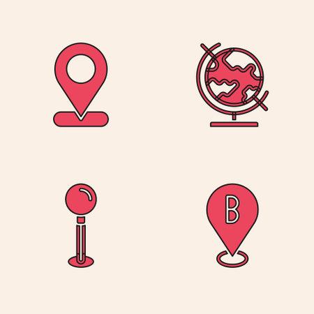 Set Location, , Earth globe and Push pin icon. Vector Ilustracja