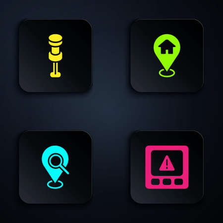 Set Gps device error, Push pin, Search location and Location with house. Black square button. Vector Ilustracja