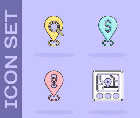 Set Gps device with map, Search location, Alcohol or beer bar and Cash icon. Vector