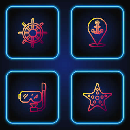 Set line Starfish, Diving mask and snorkel, Ship steering wheel and Location with anchor. Gradient color icons. Vector Ilustracja