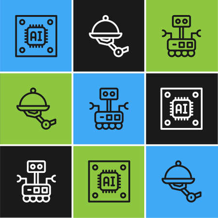Set line Processor with microcircuits CPU, Robot and Waiter robot icon. Vector