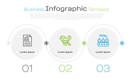 Set line Technical specification, Robot and Industrial production of robots. Business infographic template. Vector