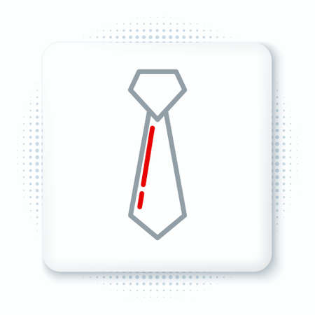 Line Tie icon isolated on white background. Necktie and neckcloth symbol. Colorful outline concept. Vector Çizim