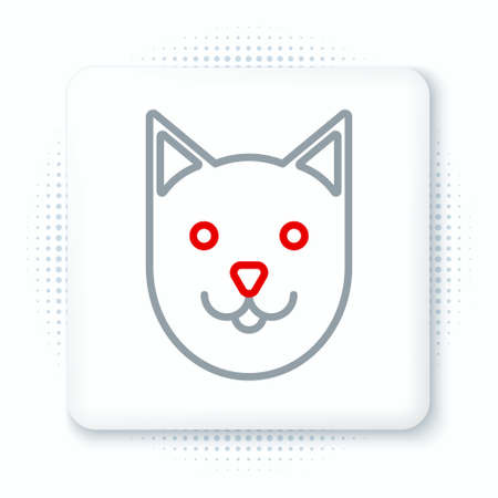 Line Cat icon isolated on white background. Colorful outline concept. Vector