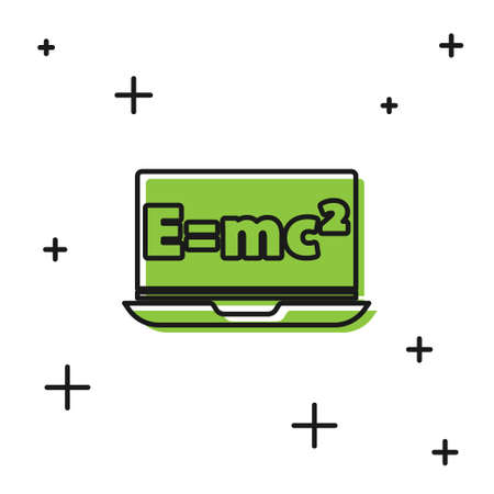 Black Math system of equation solution on laptop icon isolated on white background. E equals mc squared equation on computer screen. Vector