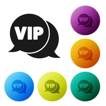 Black Vip in speech bubble icon isolated on white background. Set icons in color circle buttons. Vector