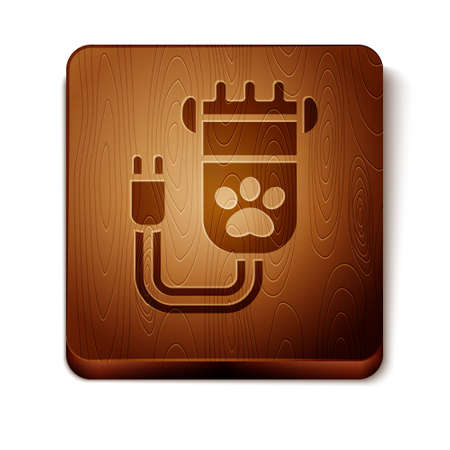 Brown Hair clipper accessories for pet grooming icon isolated on white background. Wooden square button. Vector