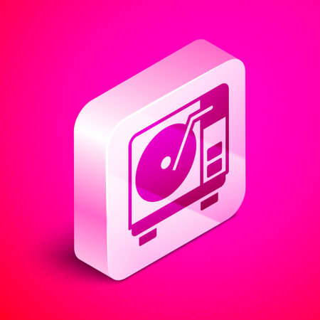 Isometric Vinyl player with a vinyl disk icon isolated on pink background. Silver square button. Vector