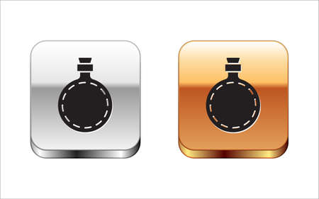 Black Canteen water bottle icon isolated on white background. Tourist flask icon. Jar of water use in the campaign. Silver-gold square button. Vector