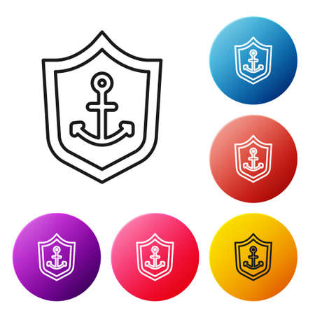 Black line Anchor inside shield icon isolated on white background. Set icons colorful circle buttons. Vector Ilustracja