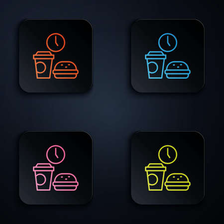 Color neon line Fast food time icon isolated on black background. Set icons in square buttons. Vector
