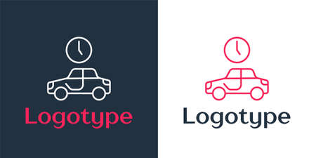 Logotype line Time to travel icon isolated on white background. Logo design template element. Vector