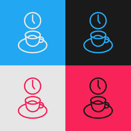 Pop art line Coffee time icon isolated on color background. Vector Çizim