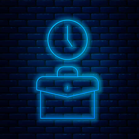 Glowing neon line Work time icon isolated on brick wall background. Office worker. Working hours. Business briefcase. Vector