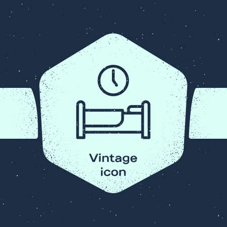 Grunge line Time to sleep icon isolated on blue background. Monochrome vintage drawing. Vector