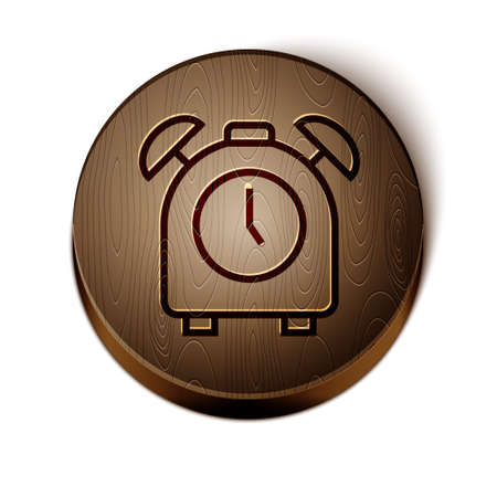 Brown line Alarm clock icon isolated on white background. Wake up, get up concept. Time sign. Wooden circle button. Vector Çizim