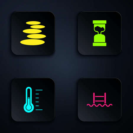 Set Swimming pool with ladder, Stack hot stones, Sauna thermometer and Old hourglass. Black square button. Vector Çizim