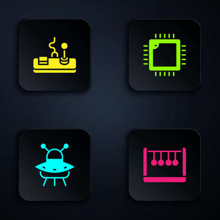 Set Pendulum, Gamepad, UFO flying spaceship and Processor with CPU. Black square button. Vector  イラスト・ベクター素材