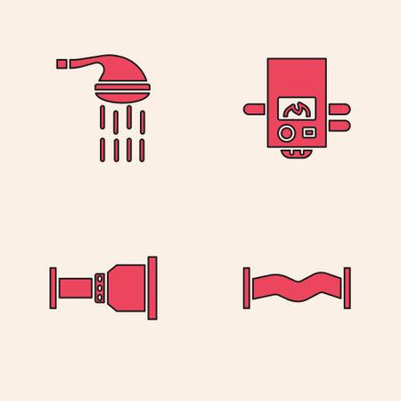 Set Industry metallic pipe, Shower, Gas boiler and Pipe adapter icon. Vector Vektorgrafik
