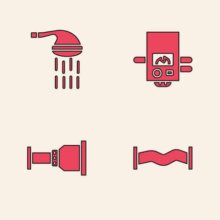 Set Industry metallic pipe, Shower, Gas boiler and Pipe adapter icon. Vector