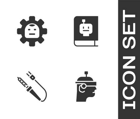 Set Smart glasses, Robot, Soldering iron and User manual icon. Vector