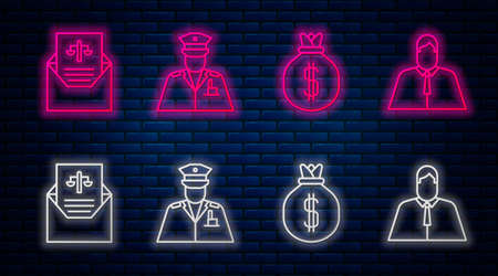 Set line Police officer, Money bag, Subpoena and Lawyer, attorney, jurist. Glowing neon icon on brick wall. Vector Vektorové ilustrace