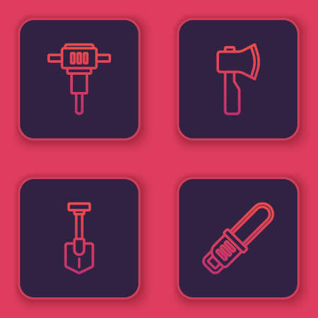 Set line Construction jackhammer, Shovel, Wooden axe and Chainsaw. Blue square button. Vector