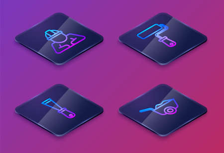 Set Isometric line Builder, Putty knife, Paint roller brush and Wheelbarrow. Blue square button. Vector