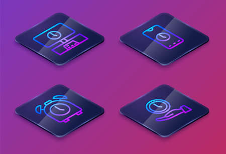 Set Isometric line Smart Tv time, Alarm clock, app mobile and Clock. Blue square button. Vector