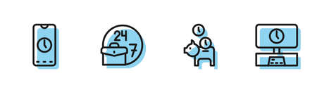 Set line Piggy bank with coin, Alarm clock app mobile, Always busy and Smart Tv time icon. Vector Çizim