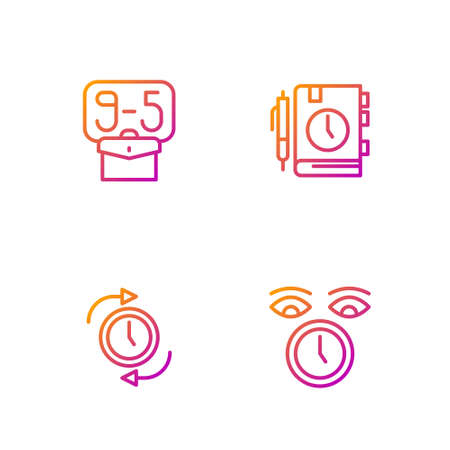 Set line Clock, with arrow, From 9 and Daily paper notepad. Gradient color icons. Vector