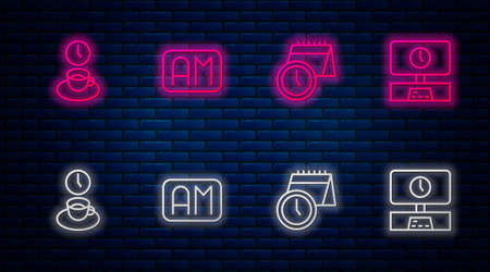 Set line Morning time, Calendar and clock, Coffee and Smart Tv. Glowing neon icon on brick wall. Vector